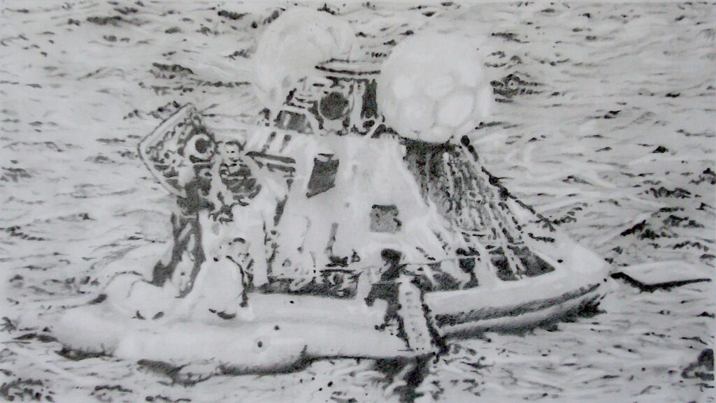 Splashdown (Apollo 13) Pencil on paper 70 x 100 cm 2020