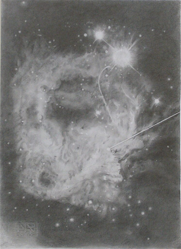 Celestial Event (2019) 33 x 45 cm Pencil on paper 2019